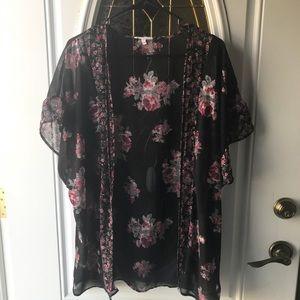 Large floral print kimono